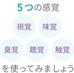 5つの感覚「視覚」「味覚」「臭覚」「聴覚」「触覚」を使ってみましょう